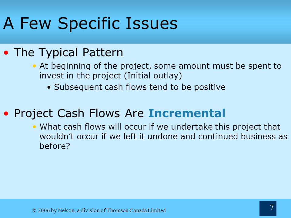 A Few Specific Issues The Typical Pattern