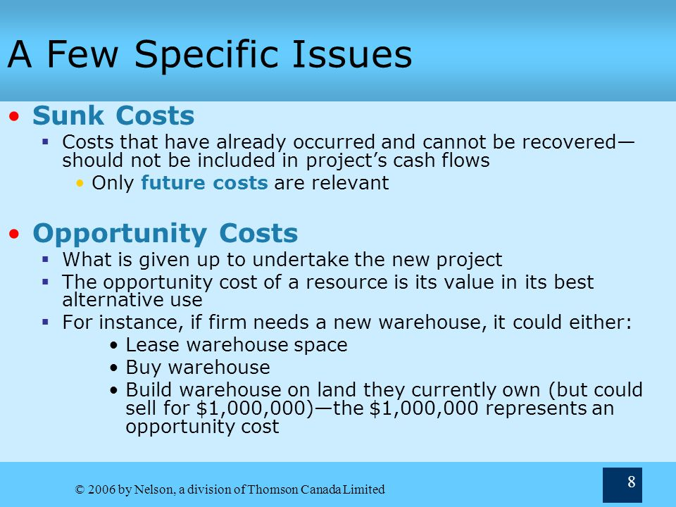 A Few Specific Issues Sunk Costs Opportunity Costs