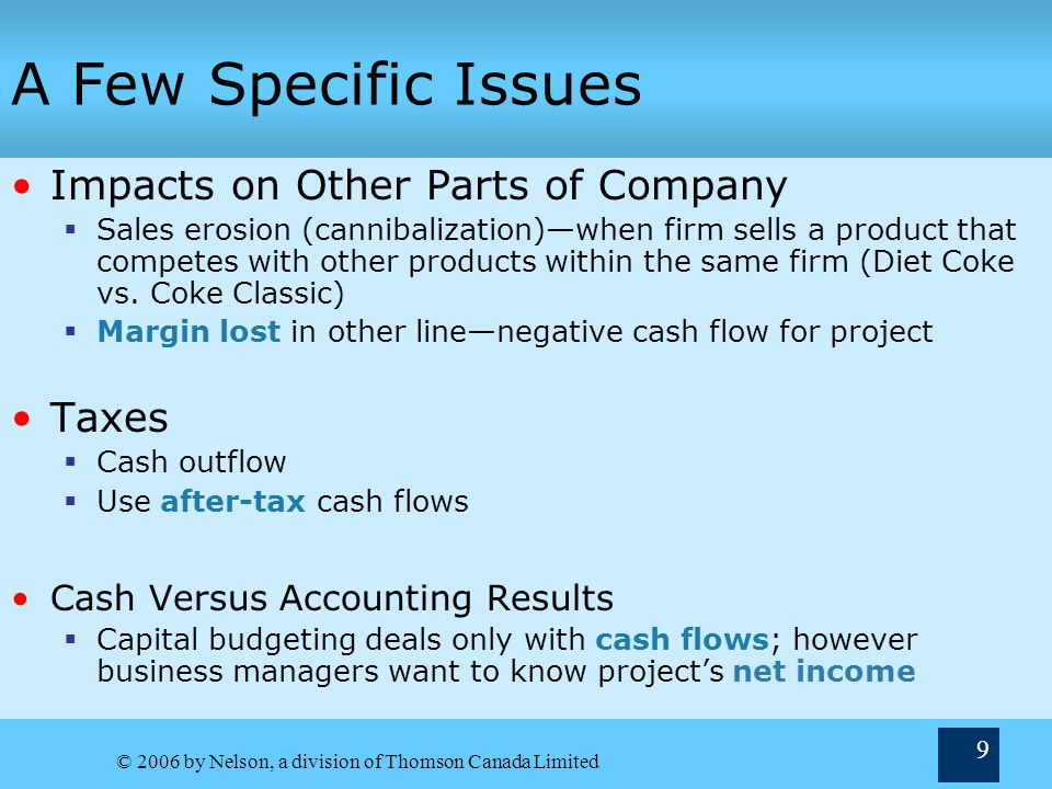 A Few Specific Issues Impacts on Other Parts of Company Taxes