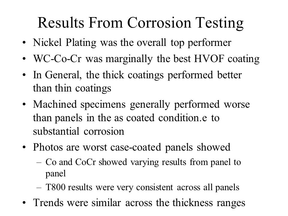 Results From Corrosion Testing