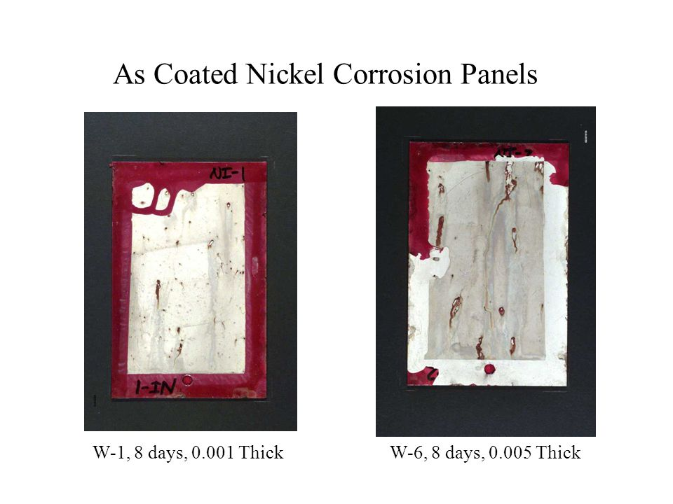 As Coated Nickel Corrosion Panels