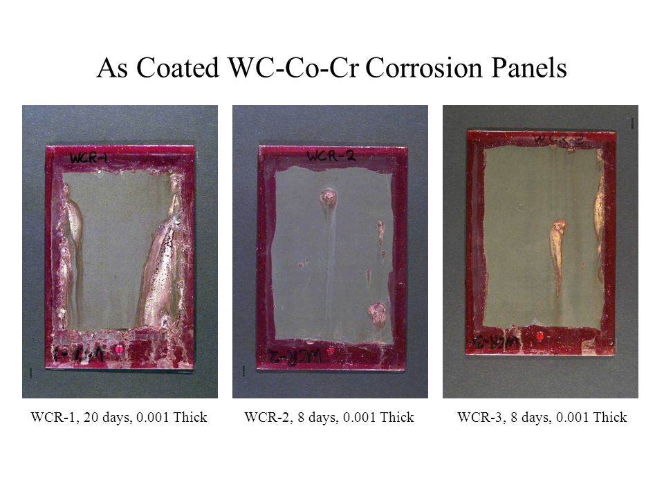 As Coated WC-Co-Cr Corrosion Panels