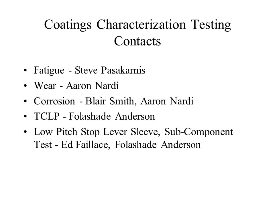 Coatings Characterization Testing Contacts