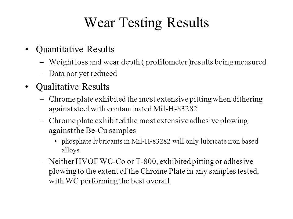 Wear Testing Results Quantitative Results Qualitative Results