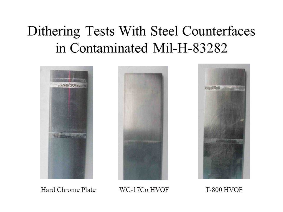 Dithering Tests With Steel Counterfaces in Contaminated Mil-H-83282