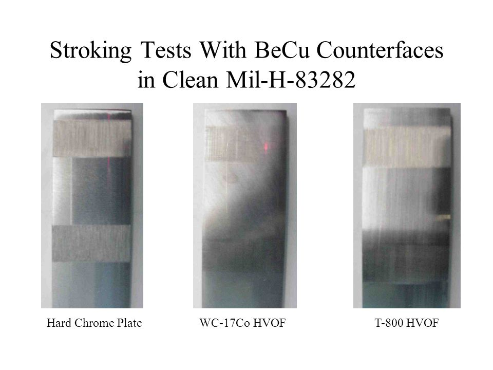 Stroking Tests With BeCu Counterfaces in Clean Mil-H-83282