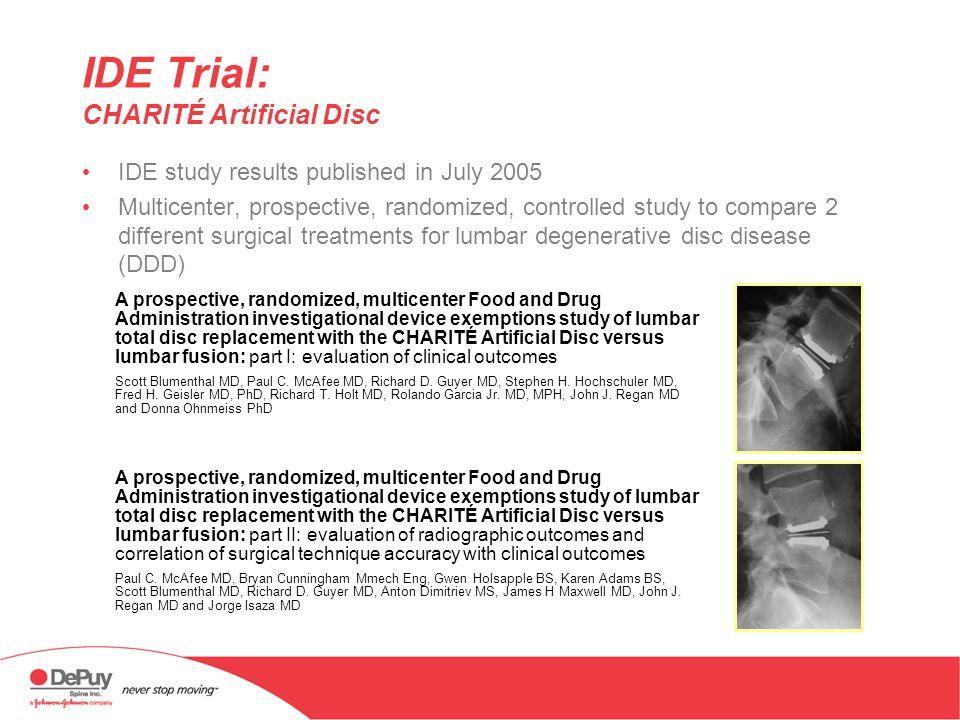 IDE Trial: CHARITÉ Artificial Disc