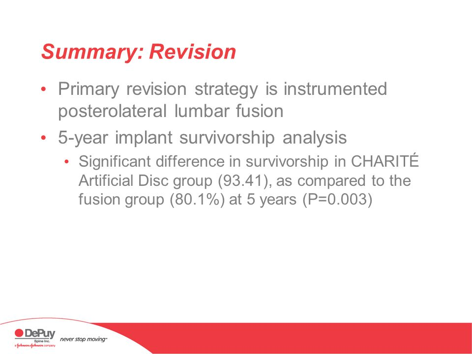 Summary: Revision Primary revision strategy is instrumented posterolateral lumbar fusion. 5-year implant survivorship analysis.