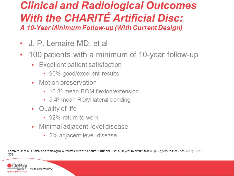 Clinical and Radiological Outcomes With the CHARITÉ Artificial Disc: A 10-Year Minimum Follow-up (With Current Design)