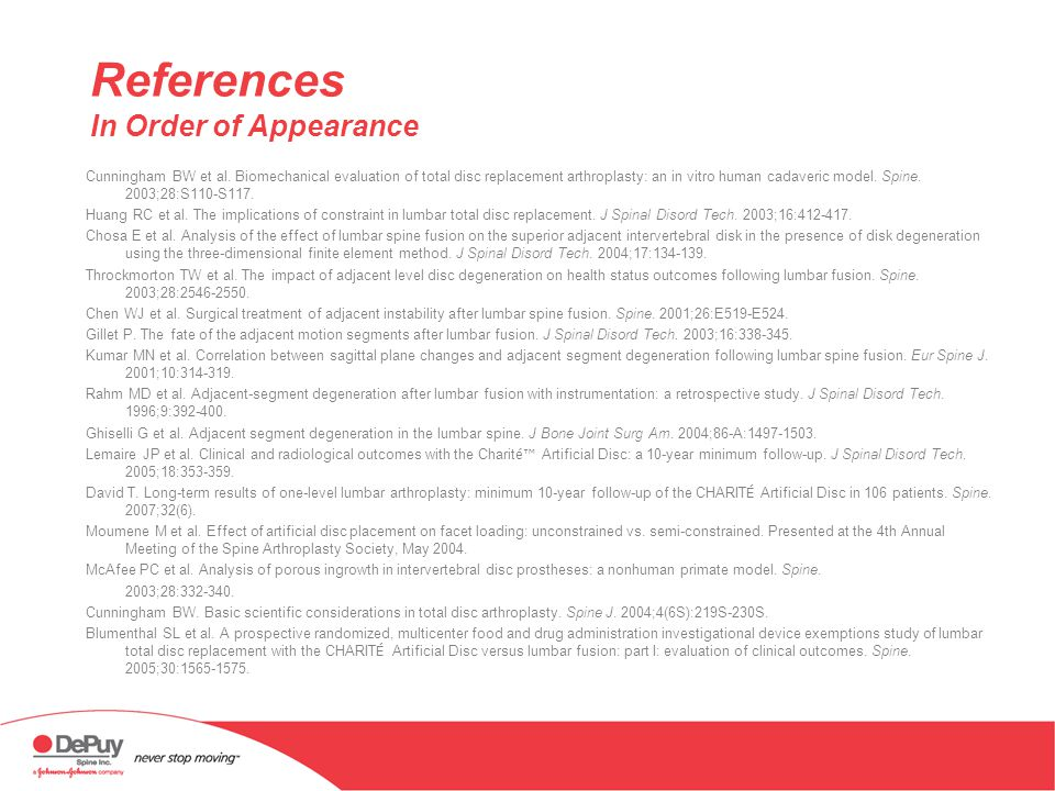References In Order of Appearance