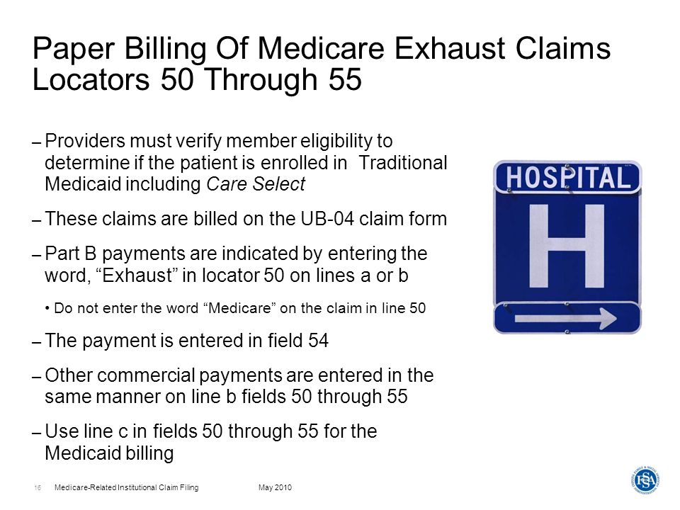 Paper Billing Of Medicare Exhaust Claims Locators 50 Through 55