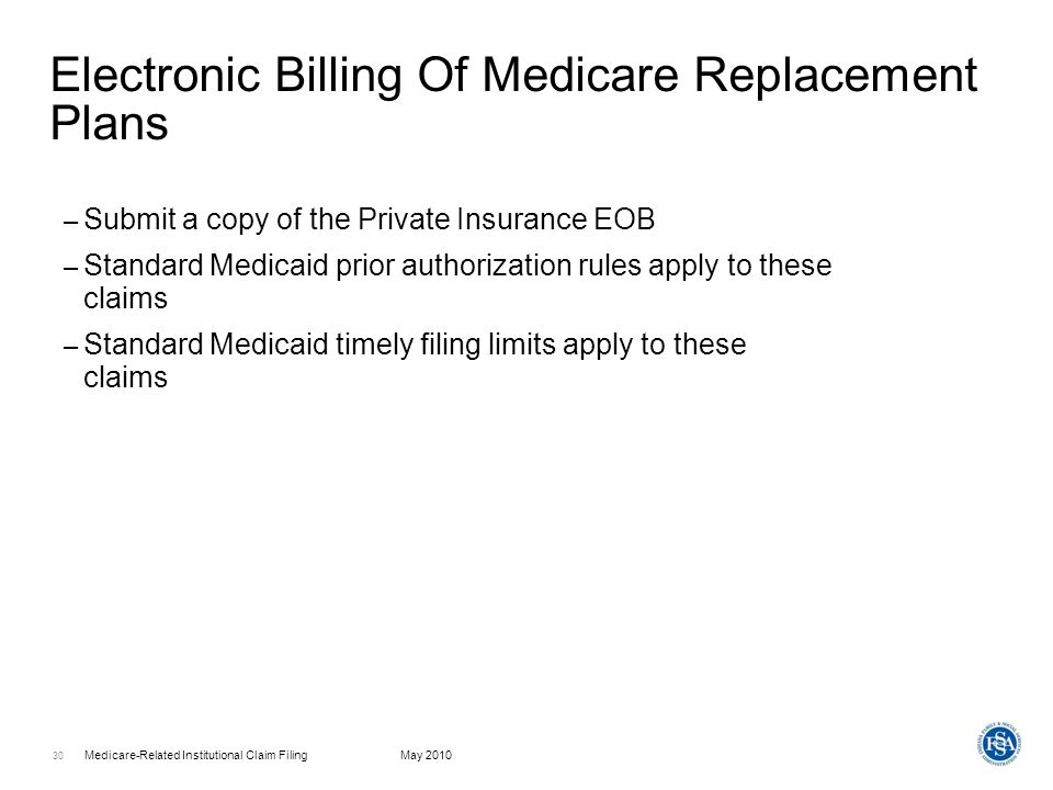 Electronic Billing Of Medicare Replacement Plans