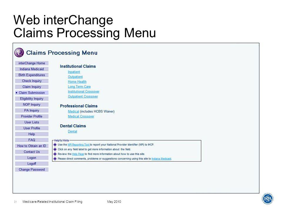 Web interChange Claims Processing Menu