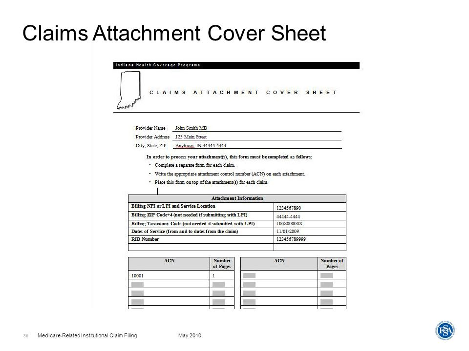 Write a cover sheet for a probate claim
