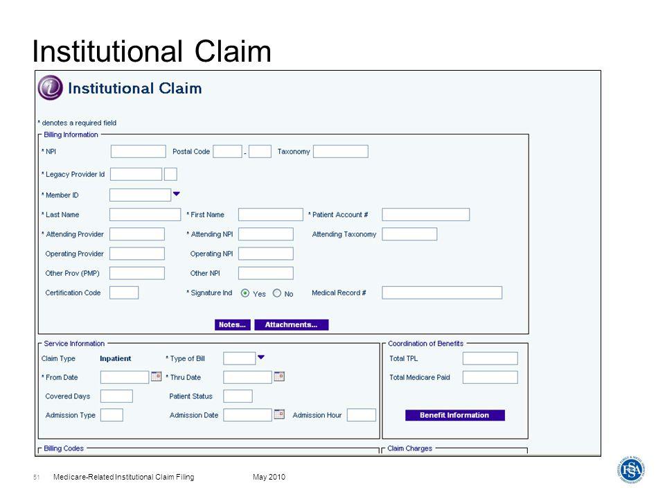 Institutional Claim