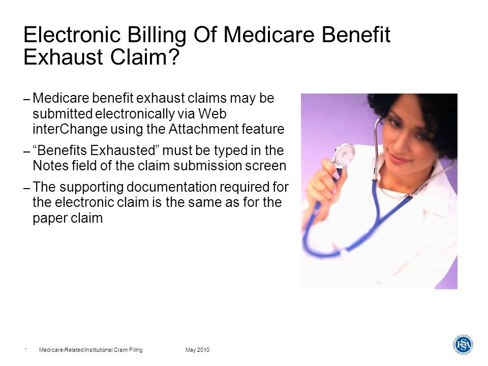 Electronic Billing Of Medicare Benefit Exhaust Claim