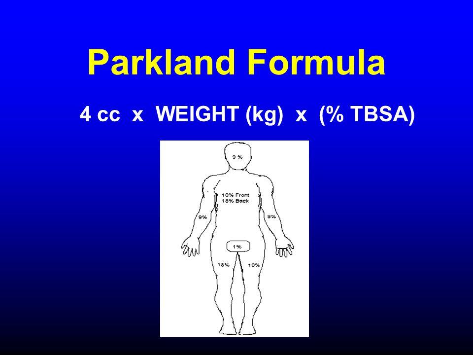 Parkland Formula 4 cc x WEIGHT (kg) x (% TBSA)
