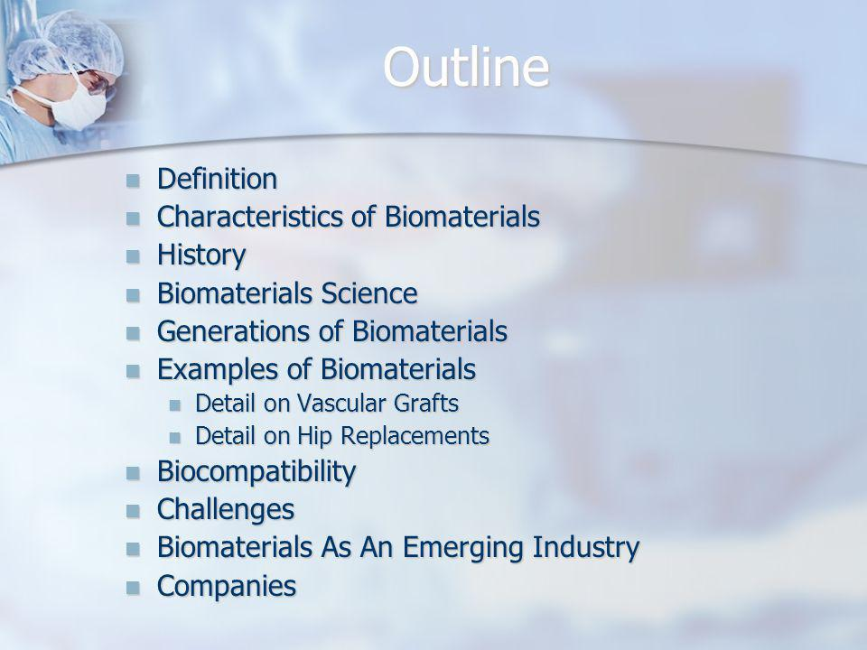 Outline Definition Characteristics of Biomaterials History