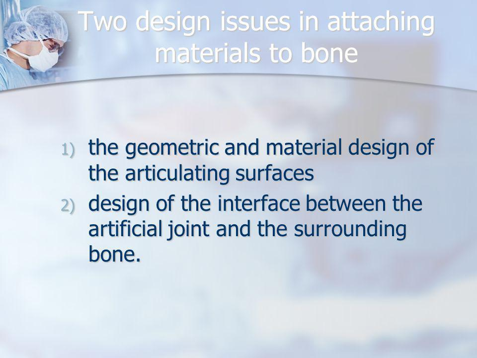 Two design issues in attaching materials to bone