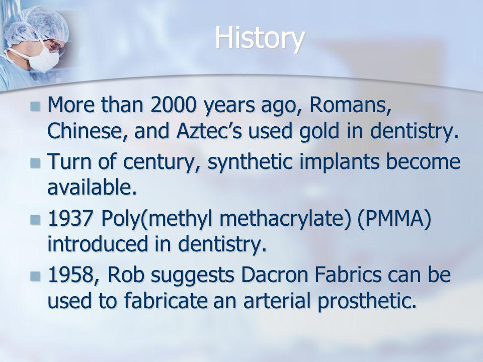 History More than 2000 years ago, Romans, Chinese, and Aztec's used gold in dentistry. Turn of century, synthetic implants become available.