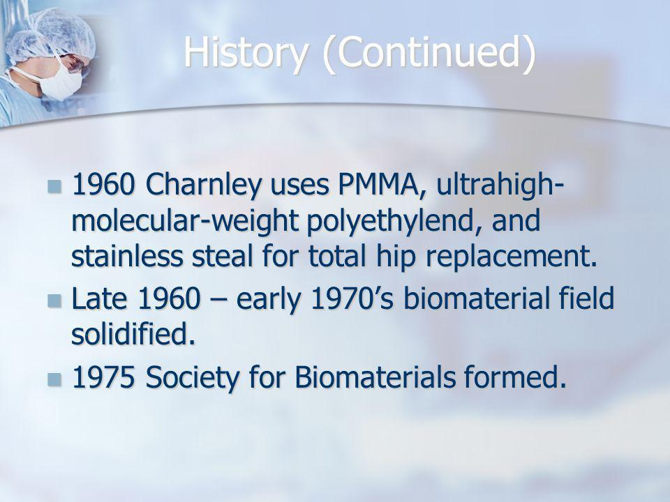 History (Continued) 1960 Charnley uses PMMA, ultrahigh-molecular-weight polyethylend, and stainless steal for total hip replacement.
