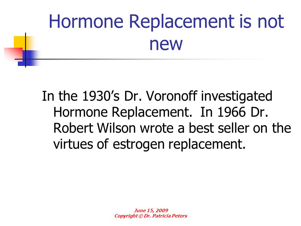 Hormone Replacement is not new