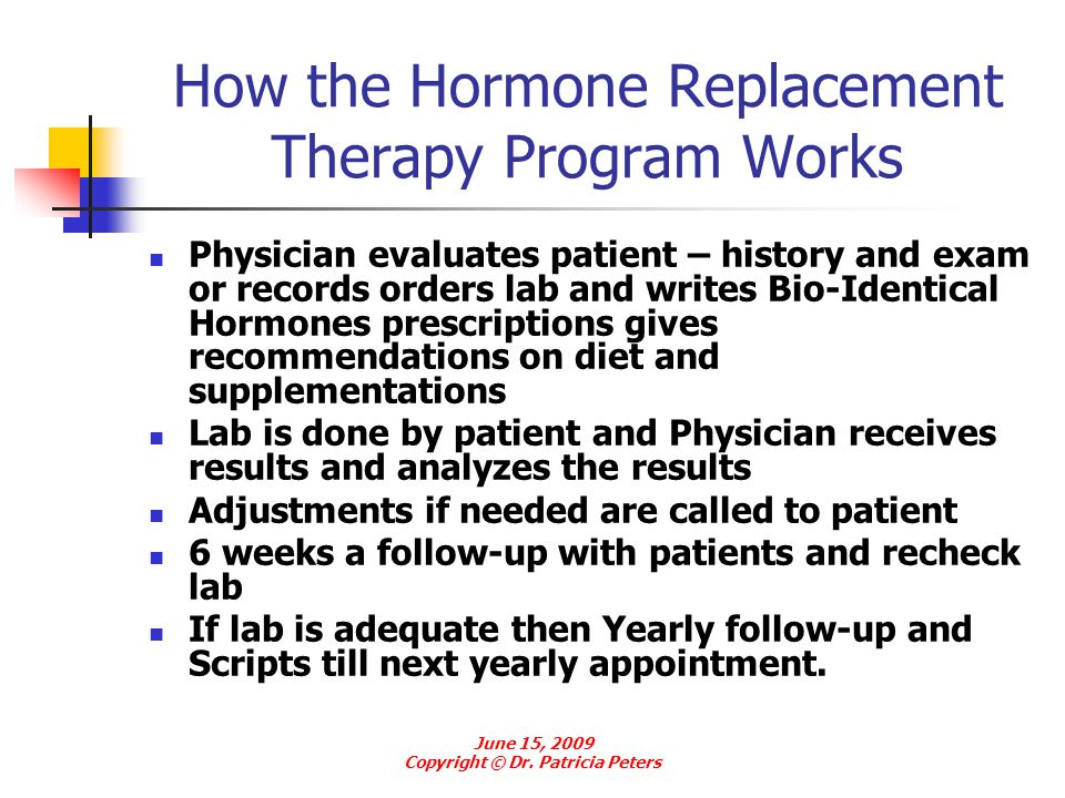 How the Hormone Replacement Therapy Program Works