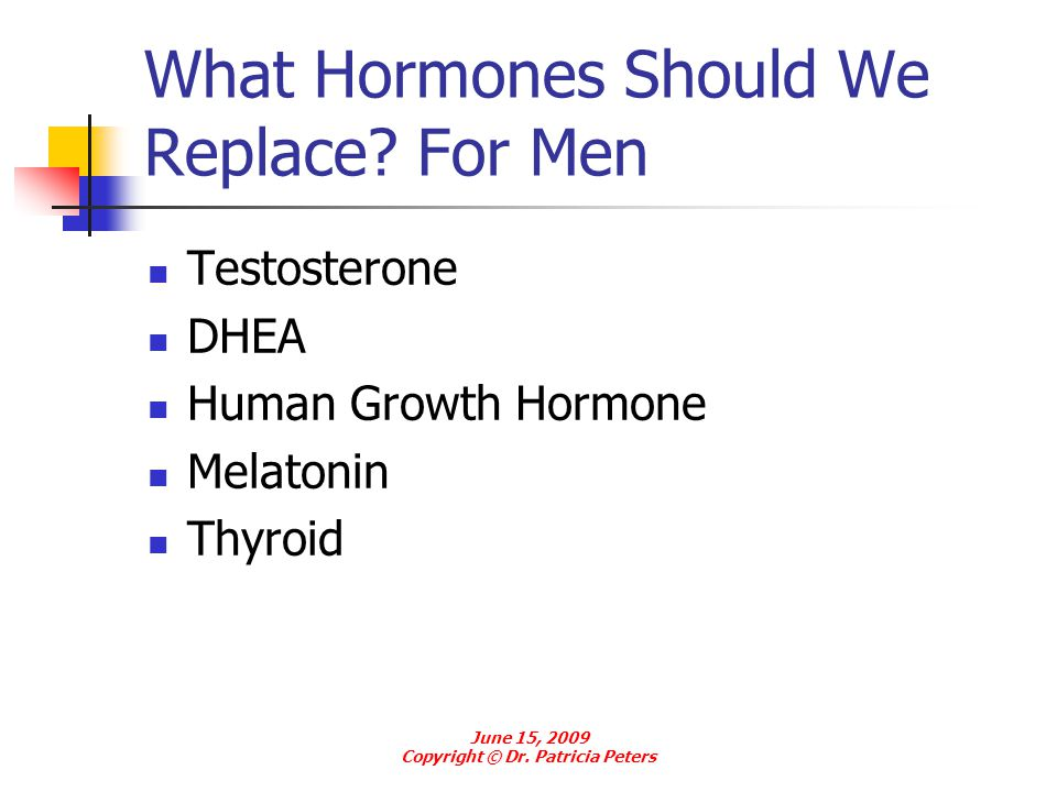 What Hormones Should We Replace For Men