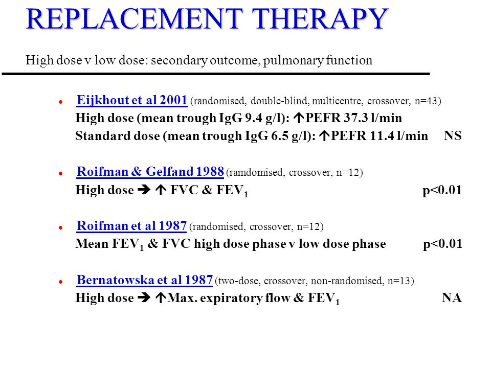 REPLACEMENT THERAPY High dose v low dose: secondary outcome, pulmonary function