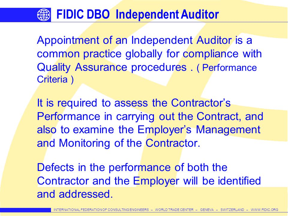FIDIC DBO Independent Auditor