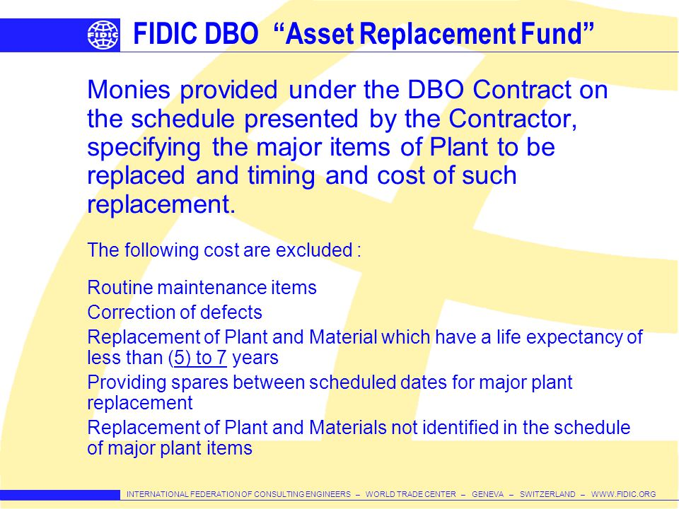 FIDIC DBO Asset Replacement Fund