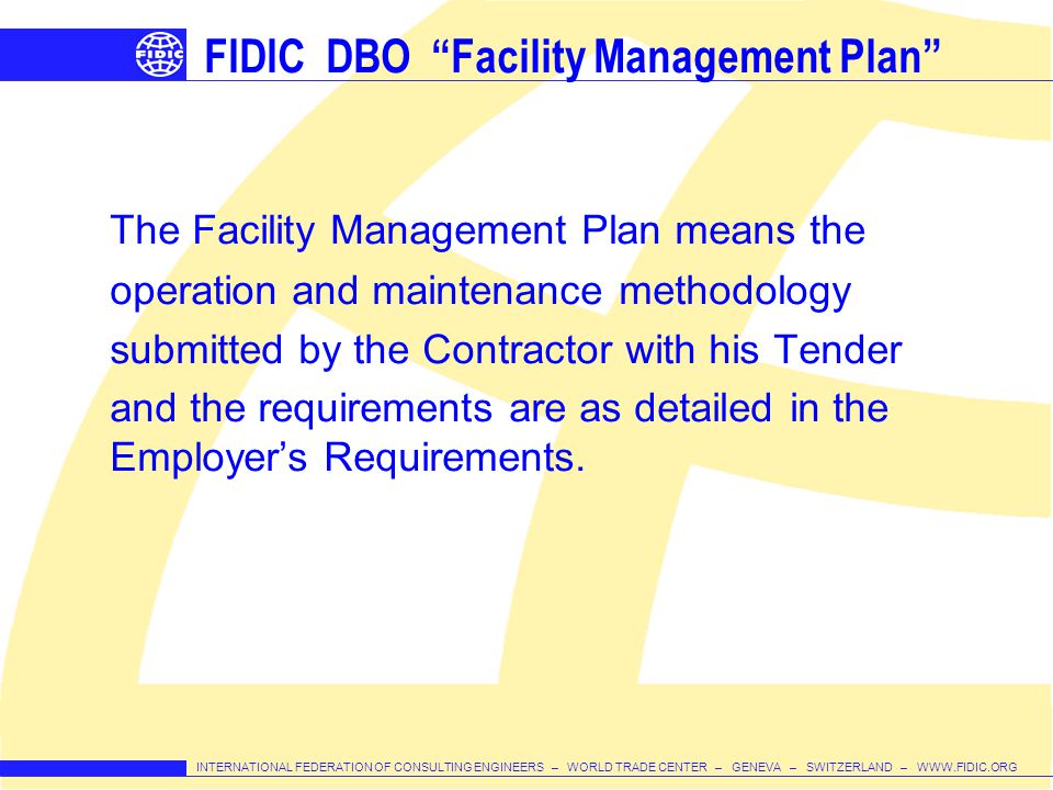 FIDIC DBO Facility Management Plan