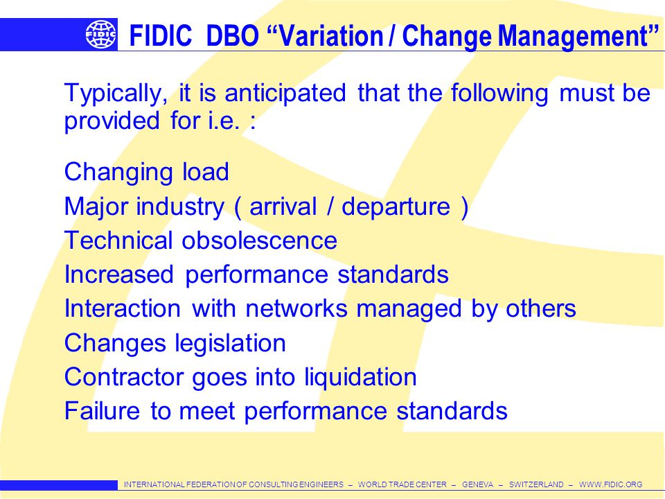 FIDIC DBO Variation / Change Management