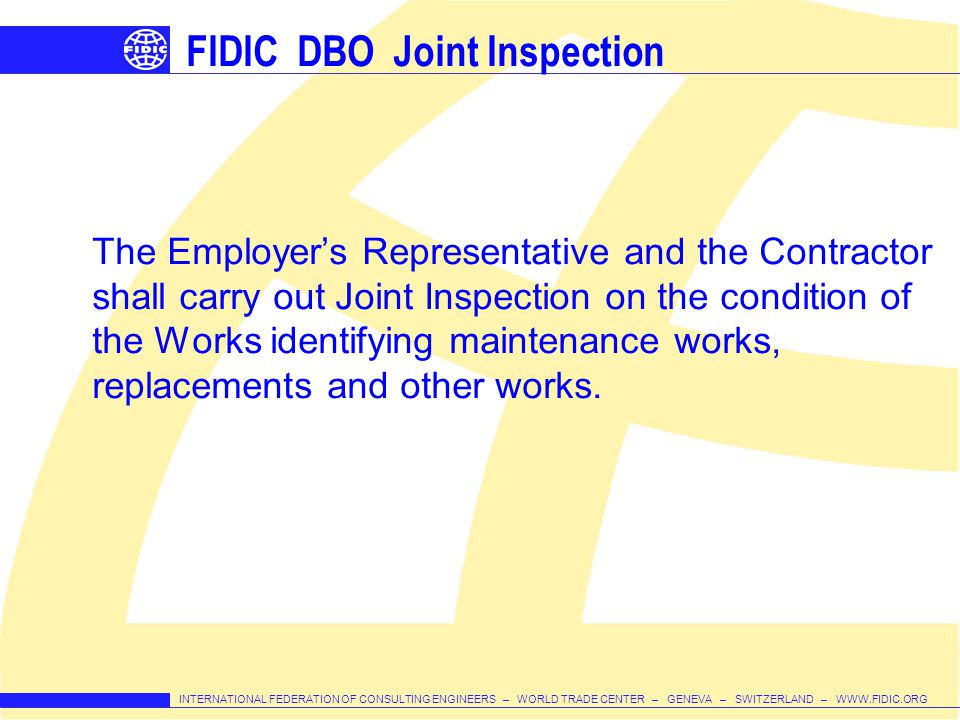 FIDIC DBO Joint Inspection