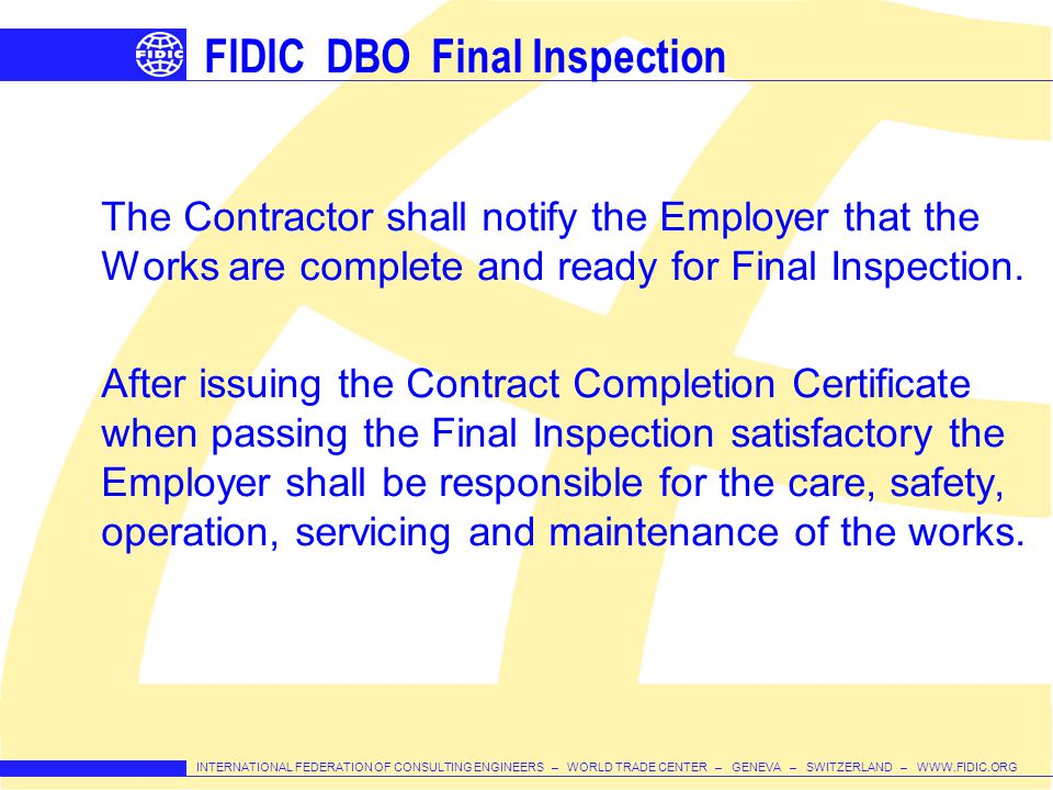 FIDIC DBO Final Inspection