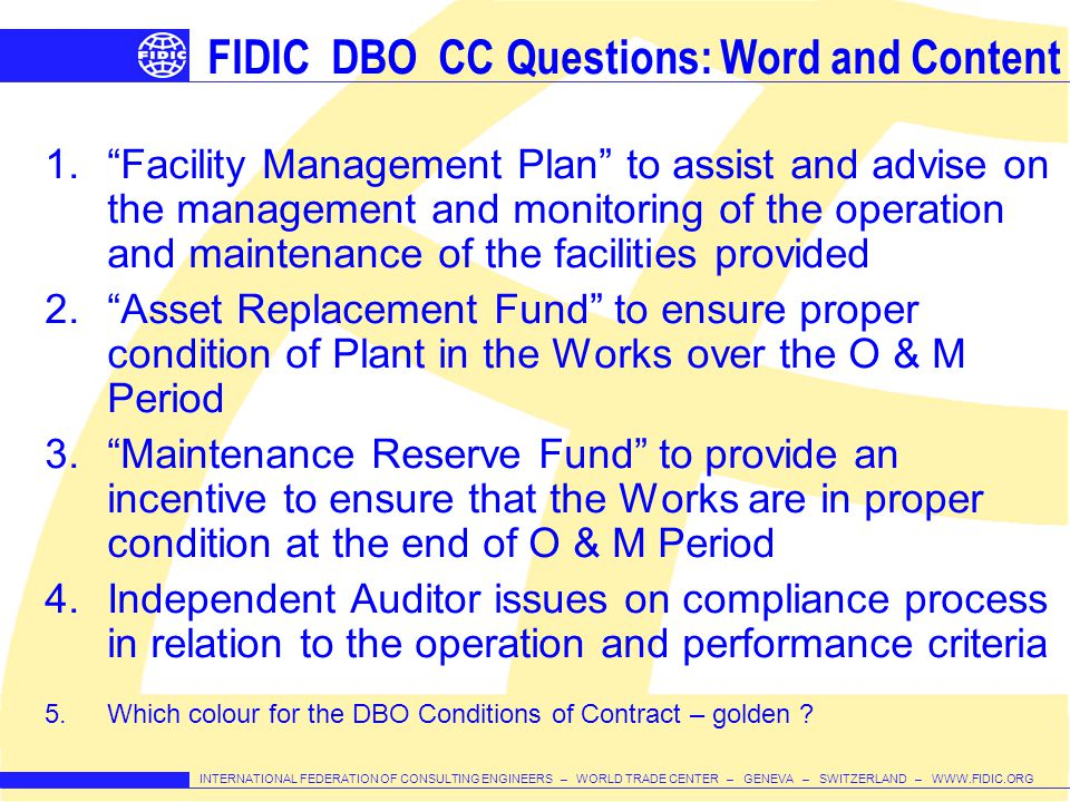FIDIC DBO CC Questions: Word and Content