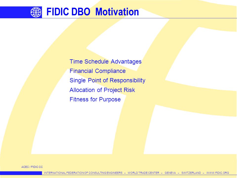 FIDIC DBO Motivation Time Schedule Advantages Financial Compliance