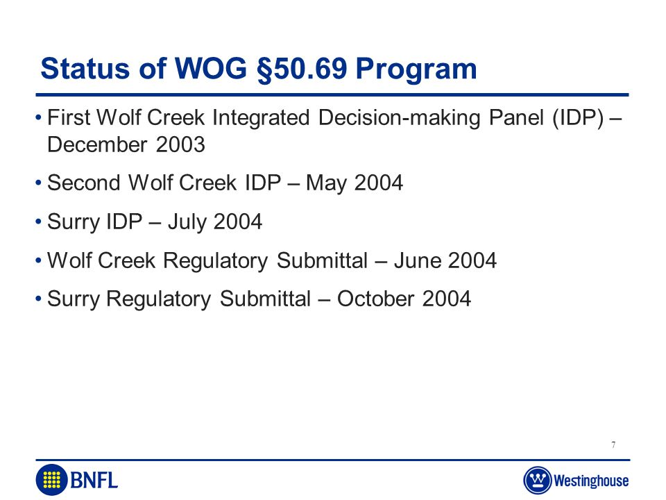 Status of WOG §50.69 Program First Wolf Creek Integrated Decision-making Panel (IDP) – December 2003.