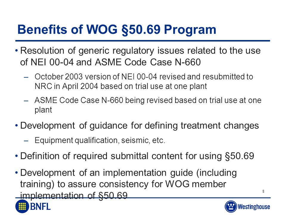 Benefits of WOG §50.69 Program