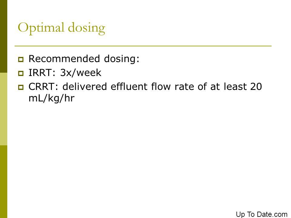 Optimal dosing Recommended dosing: IRRT: 3x/week