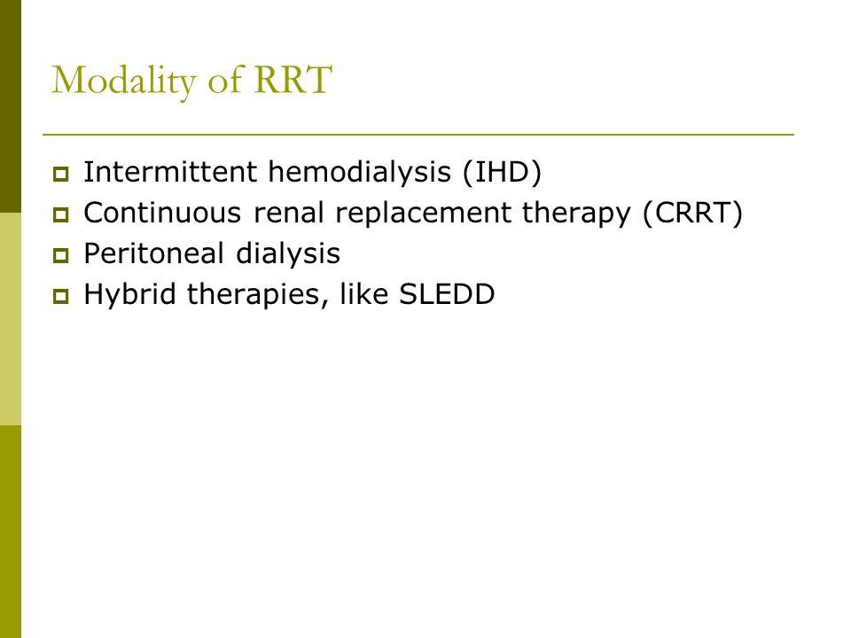 Modality of RRT Intermittent hemodialysis (IHD)