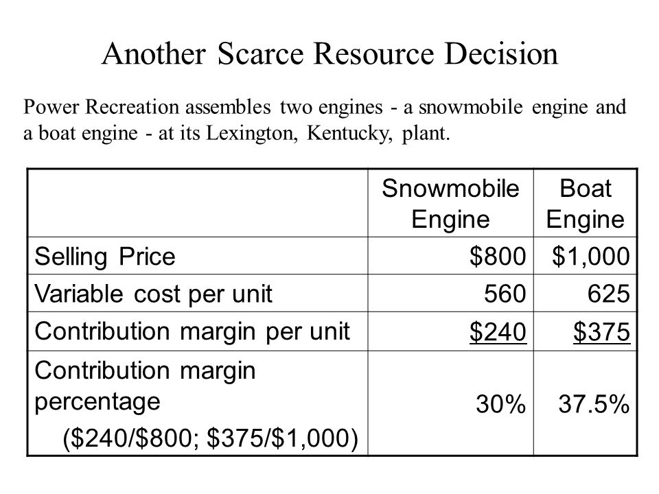 Another Scarce Resource Decision