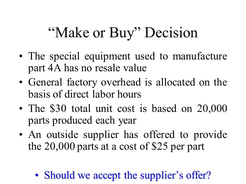 Should we accept the supplier's offer