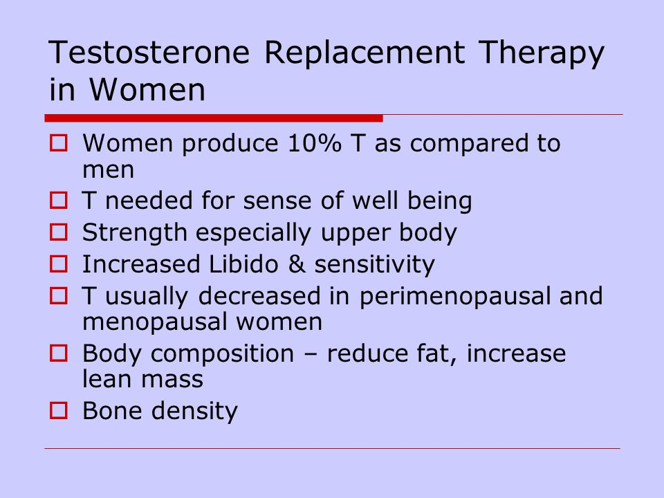 Testosterone Replacement Therapy in Women