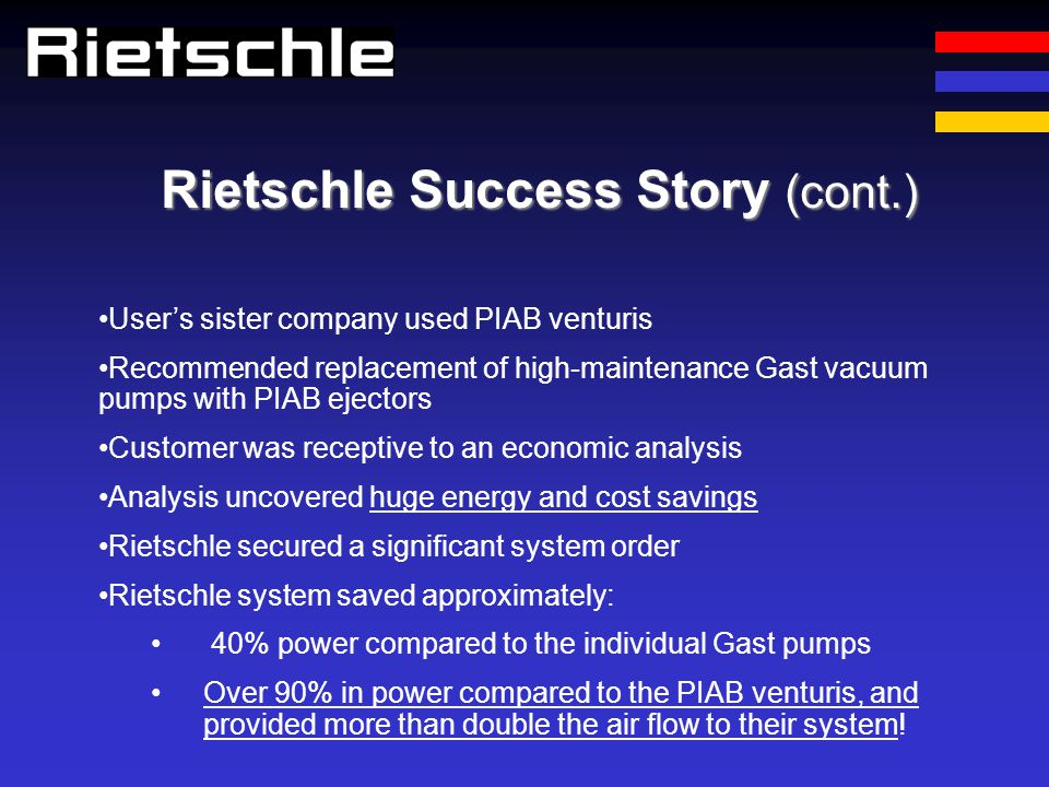Rietschle Success Story (cont.)