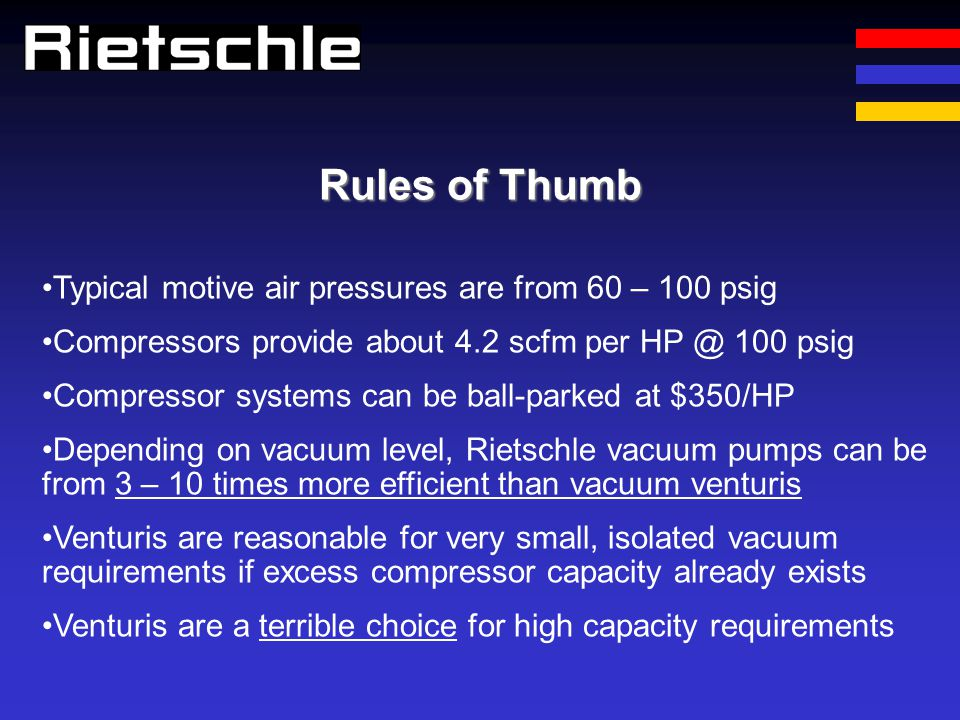Rules of Thumb Typical motive air pressures are from 60 – 100 psig