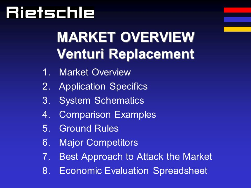 MARKET OVERVIEW Venturi Replacement