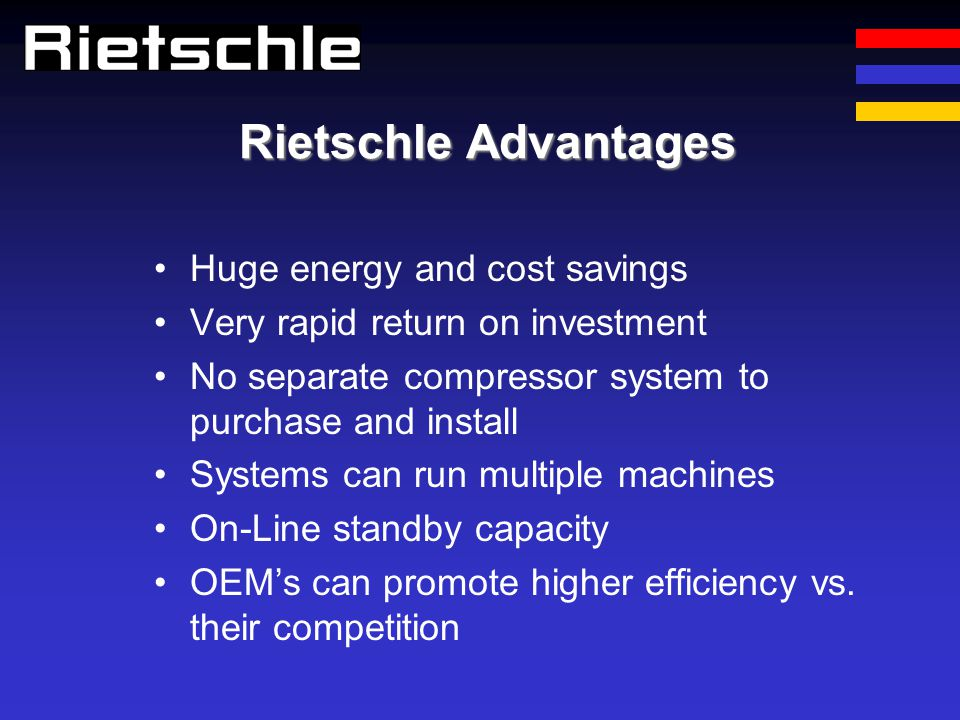 Rietschle Advantages Huge energy and cost savings