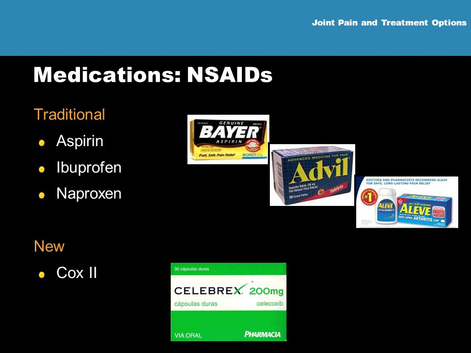 Medications: NSAIDs Traditional Aspirin Ibuprofen Naproxen New Cox II