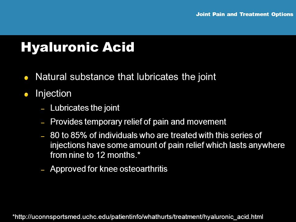 Hyaluronic Acid Natural substance that lubricates the joint Injection